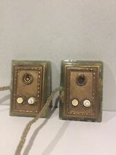 More details for 2 rare antique onyx electric butler servant push button bell switches