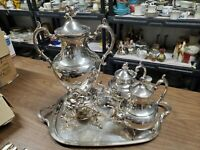 Nice fancy Silver plated Coffee Urn w/ 2 teapots Tea set and tray rose pattern