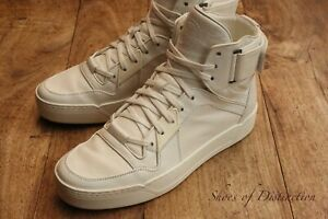 Gucci White Leather Hi Top Trainers Sneakers Men's UK 8 G US 9 EU 42