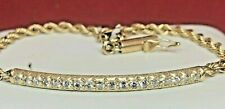 VINTAGE ESTATE 14K GOLD NATURAL  DIAMOND BRACELET PAVE SET CHAIN