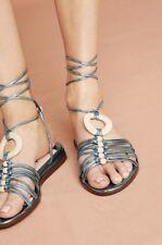 NIB Farylrobin blue Metallic Leather Lace Up Strappy Sandal 7.5