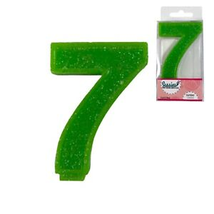 """Large Number Candle Big 7 7th Birthday 3"""" Green Sparkle Glitter Art Cake Topper"""