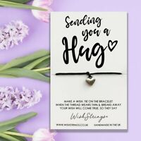 Sending you a hug wish string charm bracelet and message card with charm