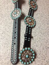 SSM~M-34 Belt w/Turquoise colored stones & Brilliant Crystal Flower CONCHOS~NEW