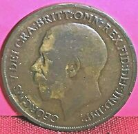 1919 GREAT BRITAIN GEORGE V K.N. LARGE BRONZE PENNY COIN