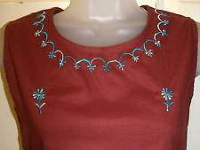 BURGUNDY EMBROIDERED COTTON TUNIC HIPPIE BOHO CAMISOLE VEST TOP SZ 8/10  # H295