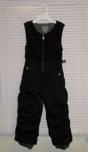 White Sierra Ski Snow Bib Overall Pants Size 4 Kids Dark Gray Fleece Upper