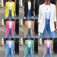 Women Slim Casual Blazer Jacket Top Outwear Long Sleeve Career Formal Coat Tops
