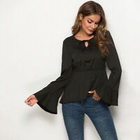 Women Lady T-Shirt Lace Up Neck Blouse Irregular Hem Bell Sleeve Top Casual
