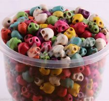 Wholesale 100PCS Turquoise Carved Skull Head Howlite Spacer Loose Beads 10mm