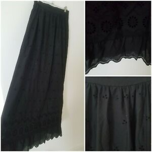 Vintage Black Broderie Anglaise Goth Victorian Style Midi Skirt Size 8 Gypsy