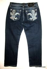 MISS ME Boyfriend Capri Jeans BLING Rhinestones Womens 27 Crystals Dark Wash