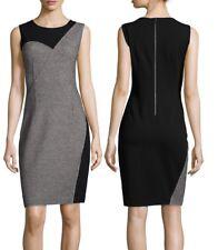 NWT $398 Elie Tahari Tweed Jersey Two Tone Sheath Dress Size 4