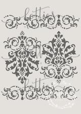 A4 Stencil DAMASK BORDER ❤ Furniture Shabby Chic French Vintage 190 MYLAR