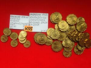 K55 Paraguay Centimo 1950 HF 10+15+25+50 Centimos 1953-10 Coins each Total 50 BU