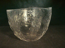 Kosta Boda Sweden bowl vintage Rhapsody embossed clear crystal design EUC