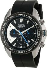 New Pulsar by Seiko PT3273 Men's Black Watch Chronograph Collection Luminous