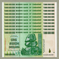 Zimbabwe 1 Billion Dollars x 10 pcs AA 2008 P83 consecutive UNC currency bills