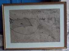 Original dessin encadré Alain Le Breton port marée basse 1951