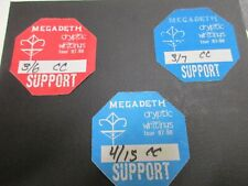 Megadeth Cryptic Writings tour 97-98 Support Passes set of 3 used