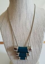 NWT Lia Sophia Silver Turquoise  Crystals Queue Pendant  Necklace 18 21 inches