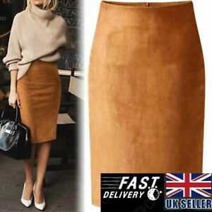 Sexy Multi Color Suede Midi Pencil Skirt Women