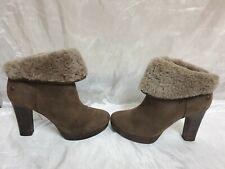 Ugg Womens Suede Heel Boots Size Uk 6 / Eu 39