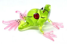 MINIATURE HAND BLOWN Art GLASS Green Frog FIGURINE Statue Small Toad