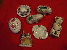 Grp lot decorative collect. pin cush,Japan,salt,porcelain bunny,trinket,occup'd