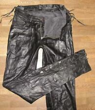 """Unique Leather Jeans With Federal Lacing/Leather Pants IN Black Approx. W29 """" /"""