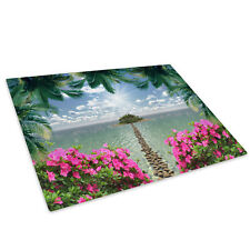 Colourful Beach Flowers Glass Chopping Board Kitchen Worktop Saver Protector