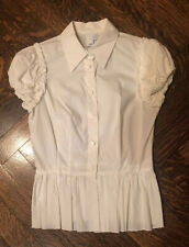 2BRYCH WOMENS SHORT CAP SLEEVE WHITE BUTTON DOWN SHIRT BLOUSE SIZE 4