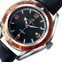 Xmas Gift ORKINA Casual Quartz Date Wrist Watch Analog Hollow Black Leather Mens
