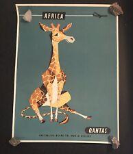"Australia's Round The World Airline QANTAS ""Africa"" Vintage Poster Original Art"