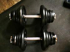 Pair of 24kg adjustable spinlock dumbbells