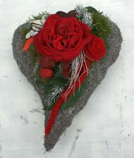 FRI Collection Grabschmuck Grabgesteck Friedhof Gesteck Herz Mit Rote Rose  35 Cm