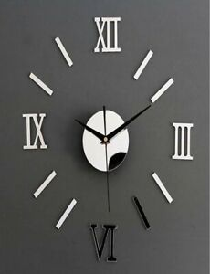 """NEW 18""""-24"""" 3D Silver Mirror Surface Wall Clock Acrylic Stickers DIY Home Decor"""