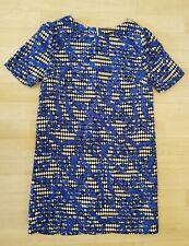 PRIMARK size 10 blue SHIFT DRESS white black SHORT SLEEVE patterned SUMMER mini