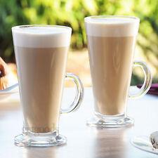 Set Of 4 Latte Glasses Tall 260ml Large Irish Tea Coffee Cappuccino Cups Mugs