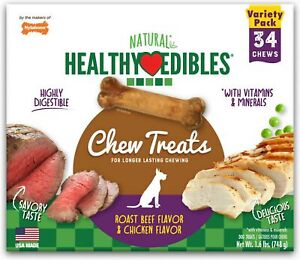 Nylabone Healthy Edibles Roast Beef/Chicken Variety Value Pack, Petite 136ct ...