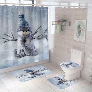 Snowman Bathroom Rug Set Shower Curtain Non-Slip Soft Toilet Lid Cover Bath Mat