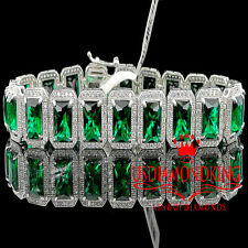 Real White Gold On Sterling Silver Royal Lab Diamond Green Emerald Bracelet 7.5""
