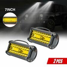 2X 7inch Slim Led Light Bar Flood Single Row Amber Fog Light Work Driving Lights