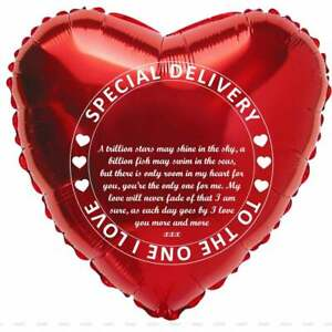 Special Delivery Valentine's Balloon With Lovely Poem & Space to Personalise