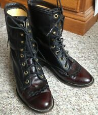 Womens 6 Laredo Classic Lace Up Cowboy Boots Burgundy Black Soft Genuine Leather