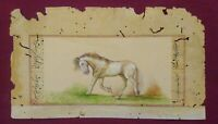 Hand Painted Horse Art Work Old Paper Natural Colors Miniature Fine Paint Rare