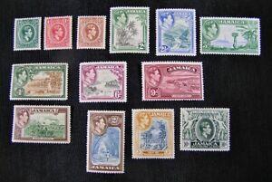 Stamps JAMAICA #116-128, 1938, MINT OG H
