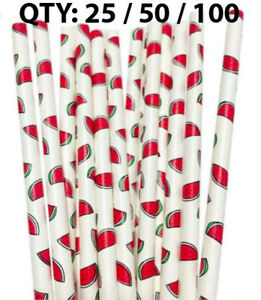 Paper Straws Watermelon Fruit Paper Drinking Straws Birthday 25 50 100
