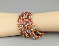 10 Pink Brown Burg Teal bracelets seed bead stretch set beaded stack stacking
