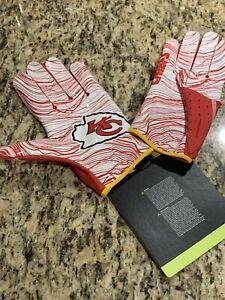 (L) Red & White Kansas City Chiefs Nike Vapor Jet Football Gloves New